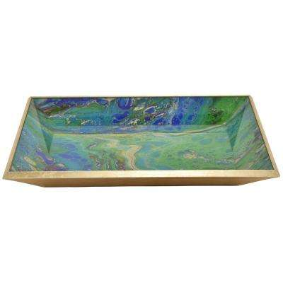 2 in. Green Glass Rectangle Decorative Tray
