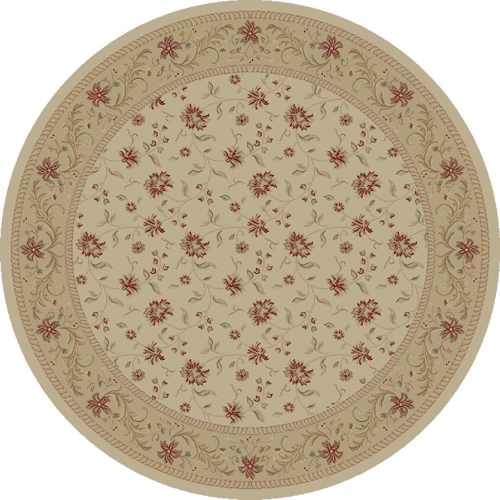 Concord Global Trading Imperial Serenity Ivory 5 ft. 3 in. Round Area Rug