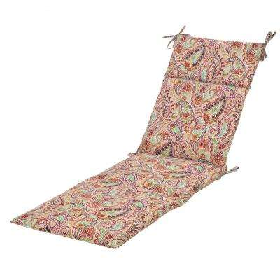 Chili Paisley Outdoor Chaise Lounge Cushion