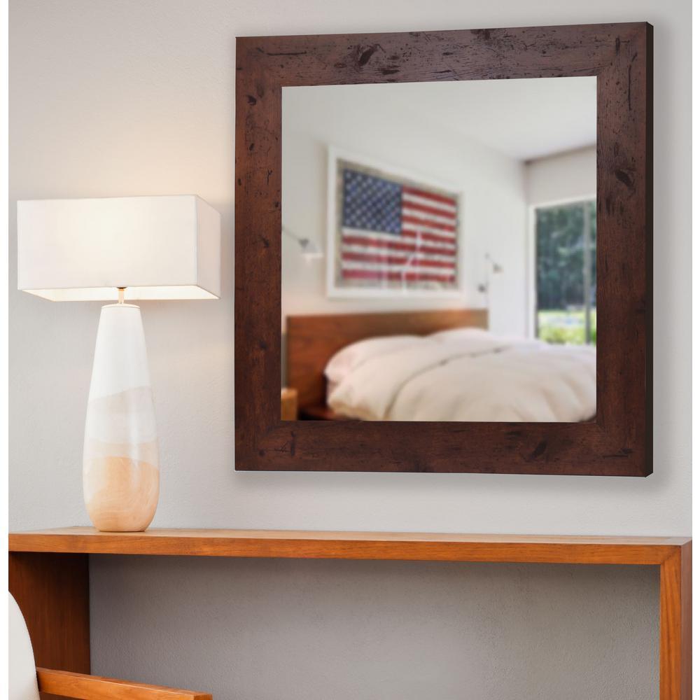 32.5 in. x 32.5 in. Rustic Dark Walnut Vanity Square Vanity Wall Mirror