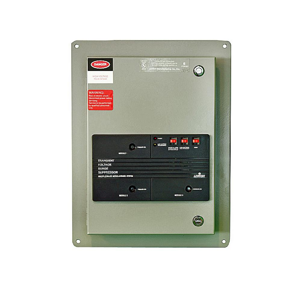 240-Volt 3-Phase Delta Surge Panel with Replaceable Surge Modules in Gray