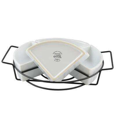 Gracious Dining 5-Piece White Ceramic 4-Section Tray Set with Metal Rack