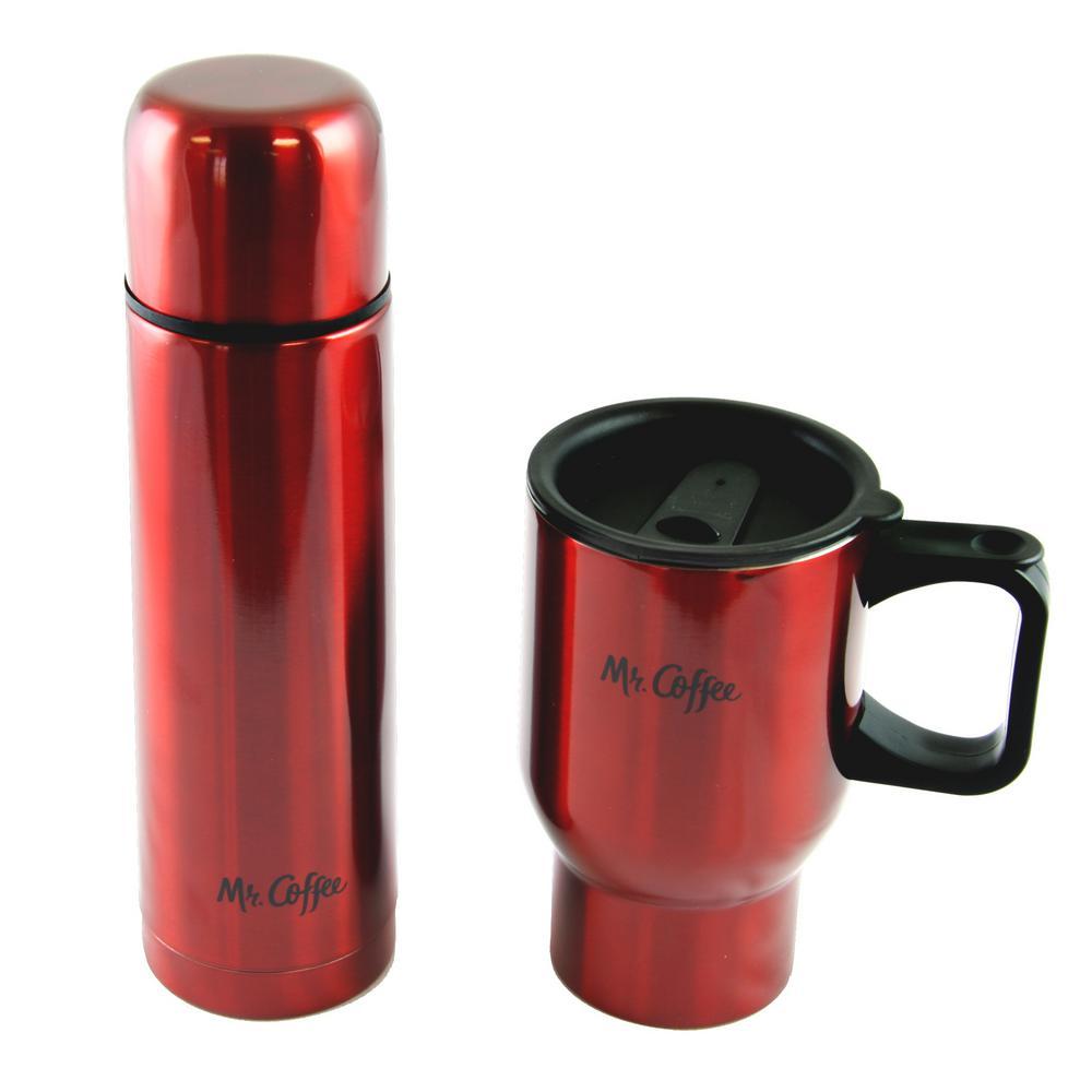 47eb75f43 Mr. Coffee Javelin 16 oz. Red Double Wall Thermos and Travel Mug Gift Set