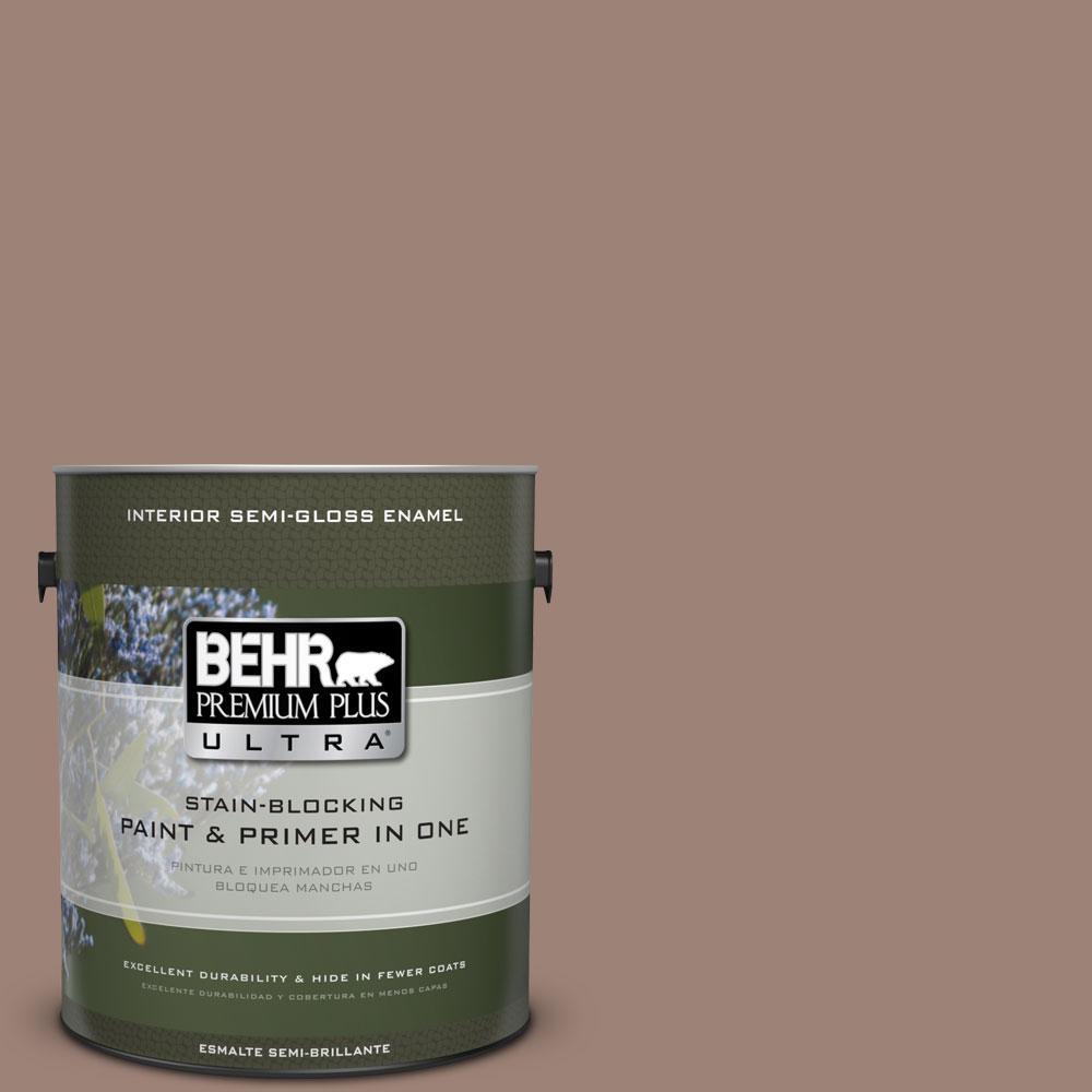 1-gal. #N150-4 Modern Mocha Semi-Gloss Enamel Interior Paint