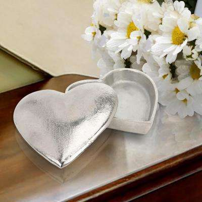 5 in. x 2 in. Metal Heart Shaped Textured Slate Box