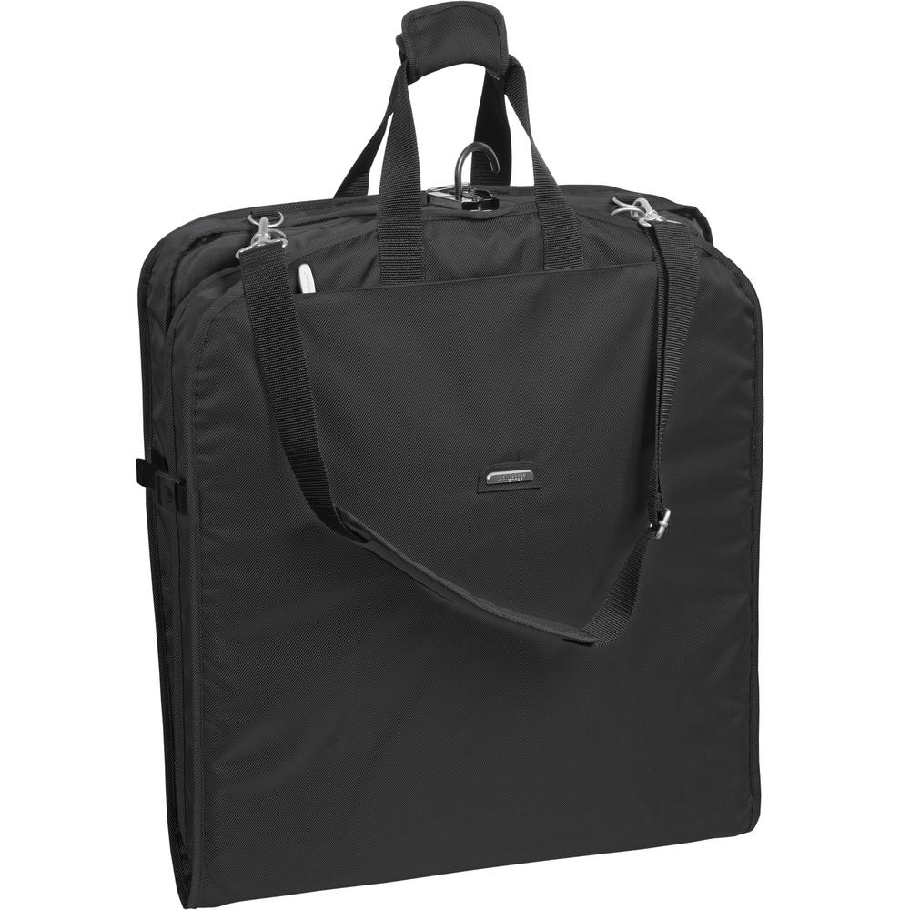 45 in. XL Carry-On Black Garment Bag with 2-Pockets and Shoulder