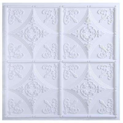 Basilica 2 ft. x 2 ft. Lay-in or Glue-up Ceiling Tile in White (40 sq. ft. / case)