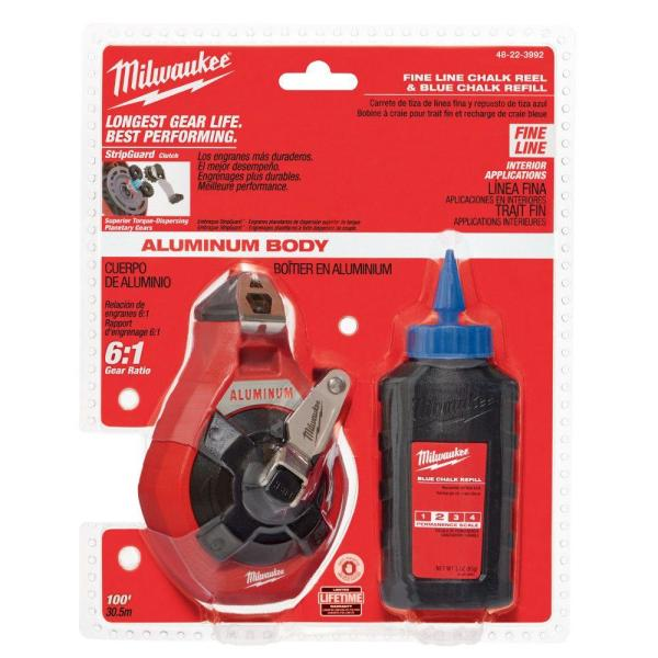 Milwaukee 48-22-3992 100 ft. Precision Line Kit with Blue Chalk