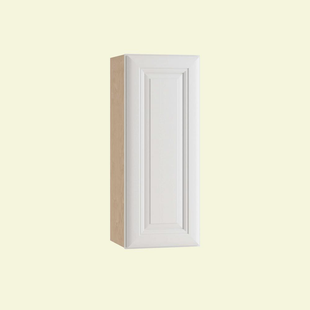 Home Decorators Collection Brookfield Assembled 12x36x12 in. Single Door Hinge Right Wall Kitchen Cabinet in Pacific White