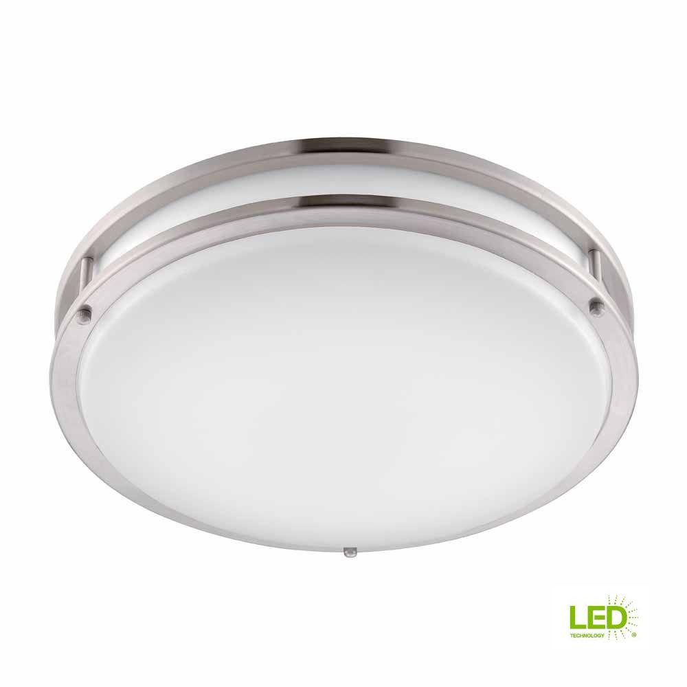 Hampton Bay Brushed Nickel LED Round Flush Mount