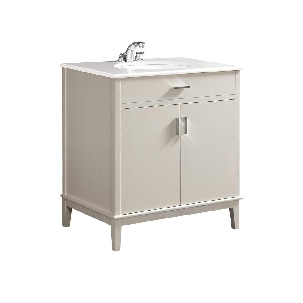 Simpli Home Urban Loft 30 in. Vanity in White with Quartz Marble Vanity Top in White and Under-Mounted Oval Sink