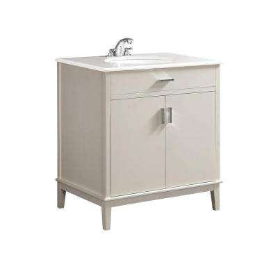 Urban Loft 30 in. Vanity in White with Quartz Marble Vanity Top in White and Under-Mounted Oval Sink