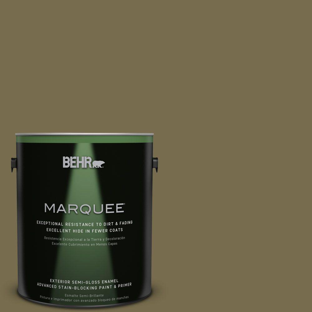 BEHR MARQUEE 1-gal. #PPU8-1 Olive Semi-Gloss Enamel Exterior Paint