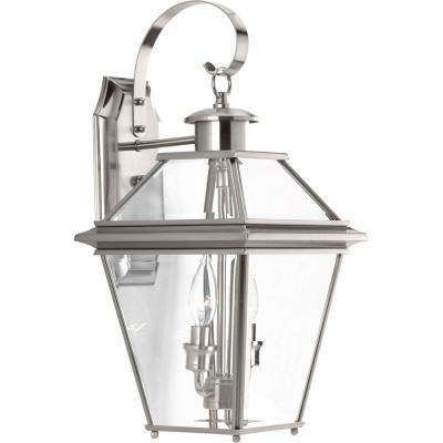 Burlington collection 2 light outdoor brushed nickel wall lantern