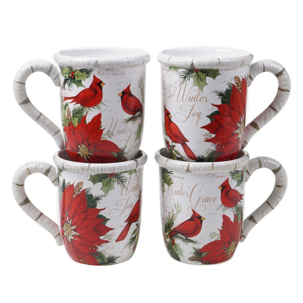 Winters Garden Assorted Color Earthenware 16 oz. Mugs (Set of 4)