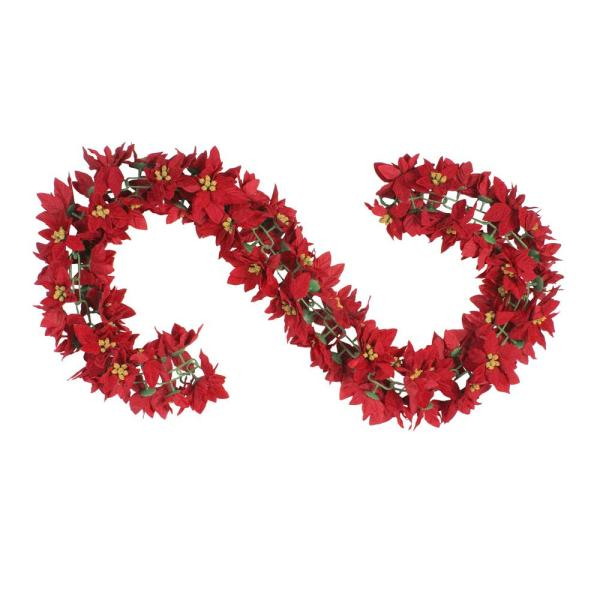 6 ft. Unlit Red Poinsettia Floral Artificial Christmas Garland