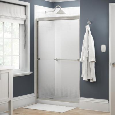 Crestfield 48 in. x 70 in. Traditional Semi-Frameless Sliding Shower Door in Nickel and 1/4 in. (6mm) Droplet Glass