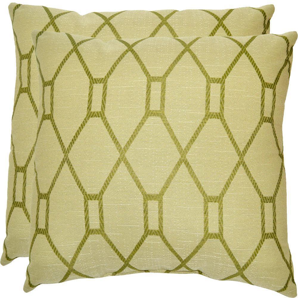 Hampton Bay Green Trellis Outdoor Throw Pillow (2-Pack)
