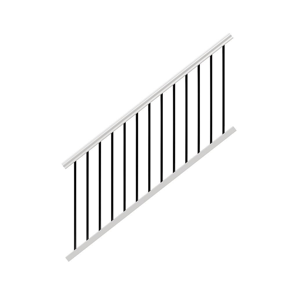 White Vinyl Stair Rail Kit With Black