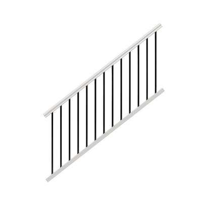 Traditional 6 ft. x 36 in. White Vinyl Stair Rail Kit with Black Metal Balusters