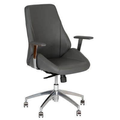 Argo 42 in. Gray Faux Leather and Chrome Finish Contemporary Office Chair