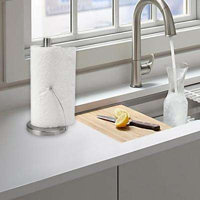 Free Standing Stainless Steel Paper Towel Holder Heavy Bottom in Silver