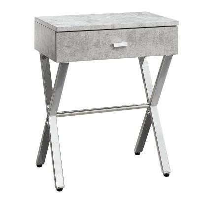 Jasmine 22.25 in. Grey and Chrome Wood End Table