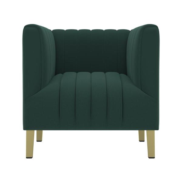 Handy Living Emerald Green Velvet Parkway Channel Tufted Club Chair