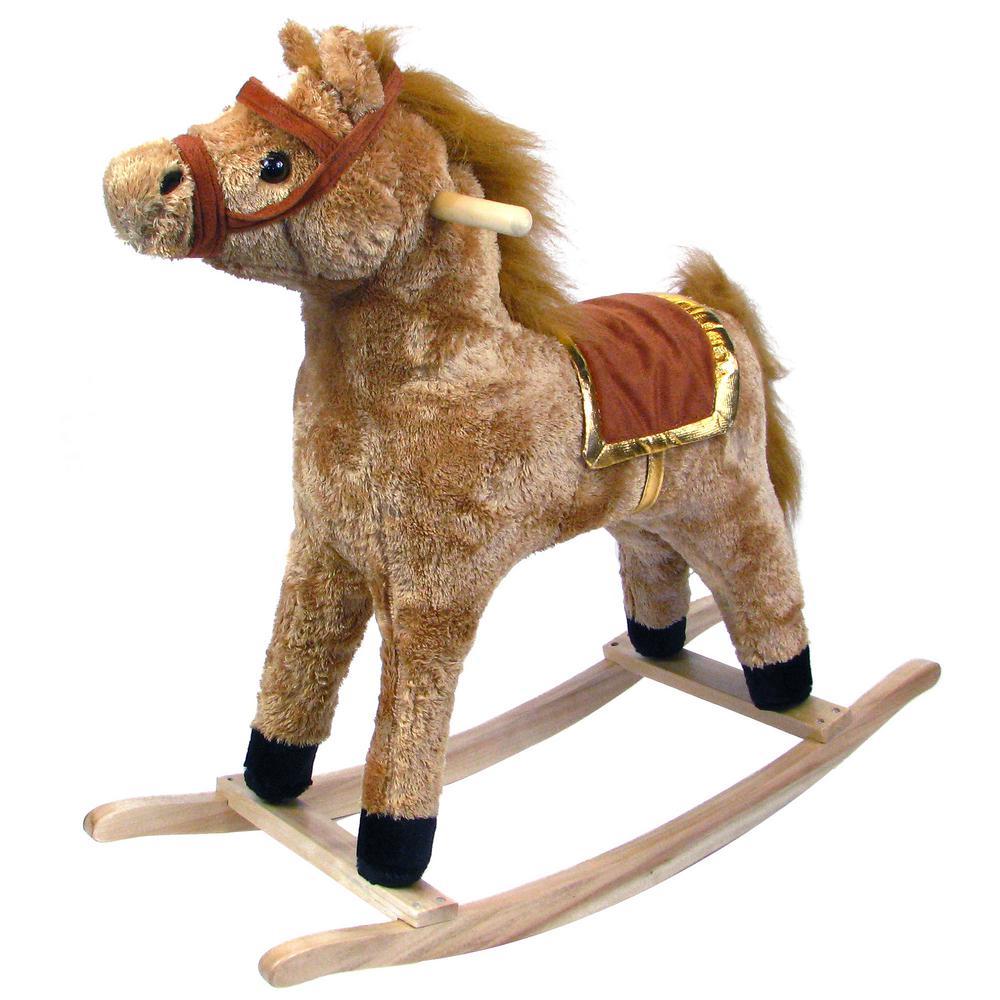 Plush Brown Rocking Happy Horse