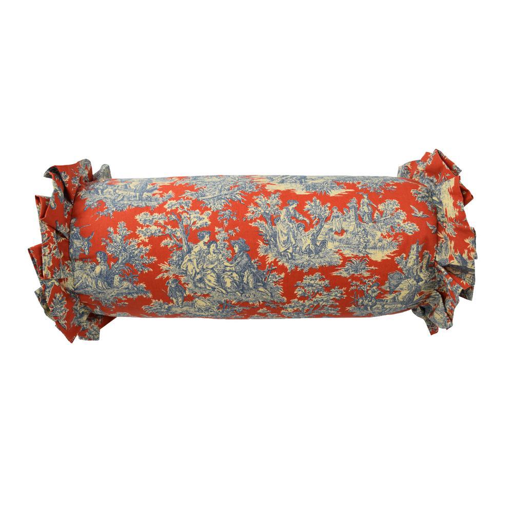 Sanctuary Rose Cotton Neck-Roll Heritage Blue Decorative Standard Pillow