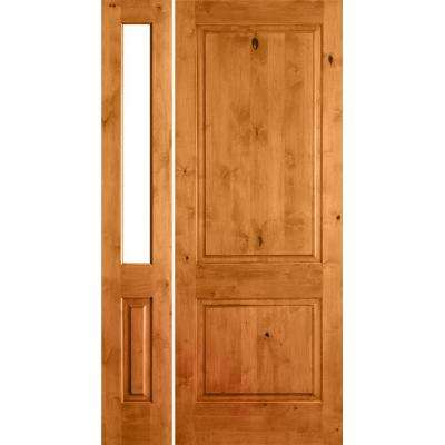 46 in. x 80 in. Rustic Unfinished Knotty Alder Square-Top Right-Hand Left Half Sidelite Clear Glass Prehung Front Door