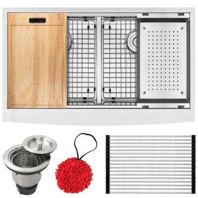 Bryce Zero Radius Farmhouse Apron Front 16-Gauge Stainless Steel 36 in. Double Basin Kitchen Sink with Accessory Kit
