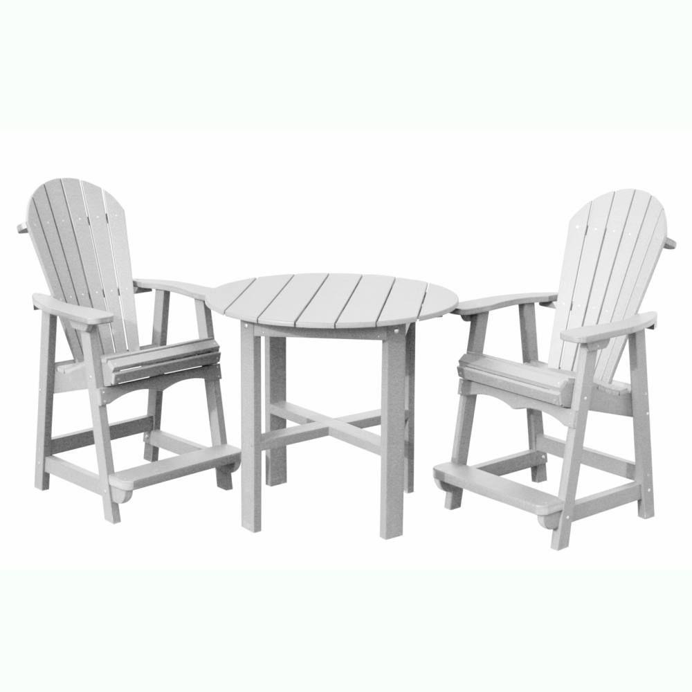 Vifah Roch Recycled Plastics 3-Piece Patio Bar Set in White-DISCONTINUED
