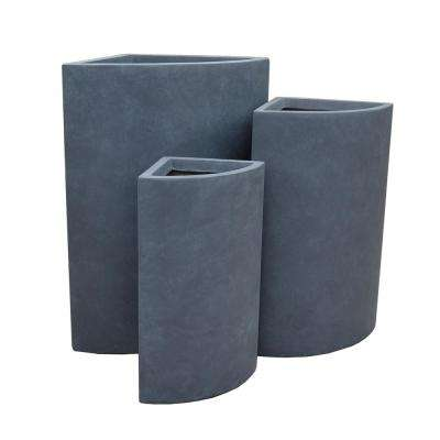 Lightweight Concrete Tall Modern Corner Charcoal Planter (Set of 3)