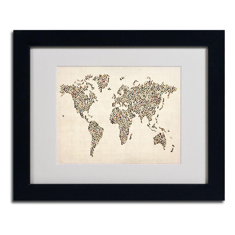 Trademark Fine Art 11 In X 14 Ladies Shoes World Map
