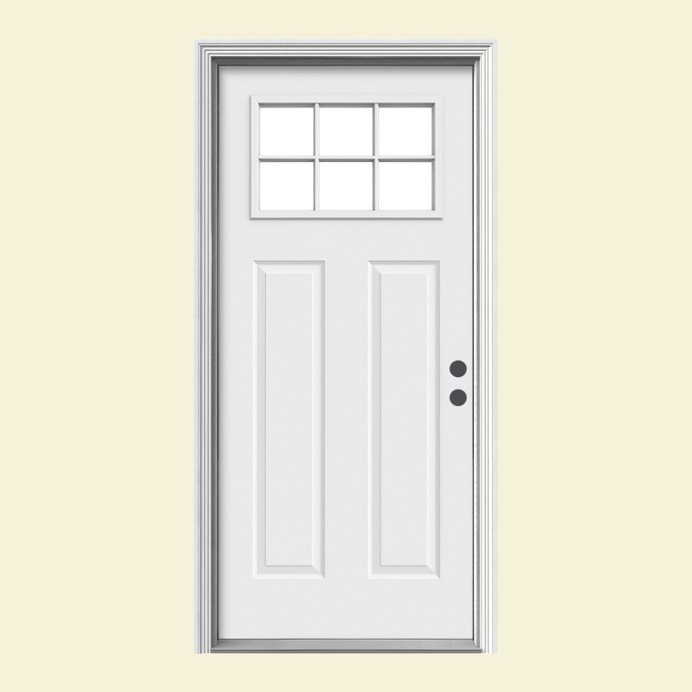 6 lite craftsman primed steel prehung left hand inswing front door wbrickmould n32846 the home depot