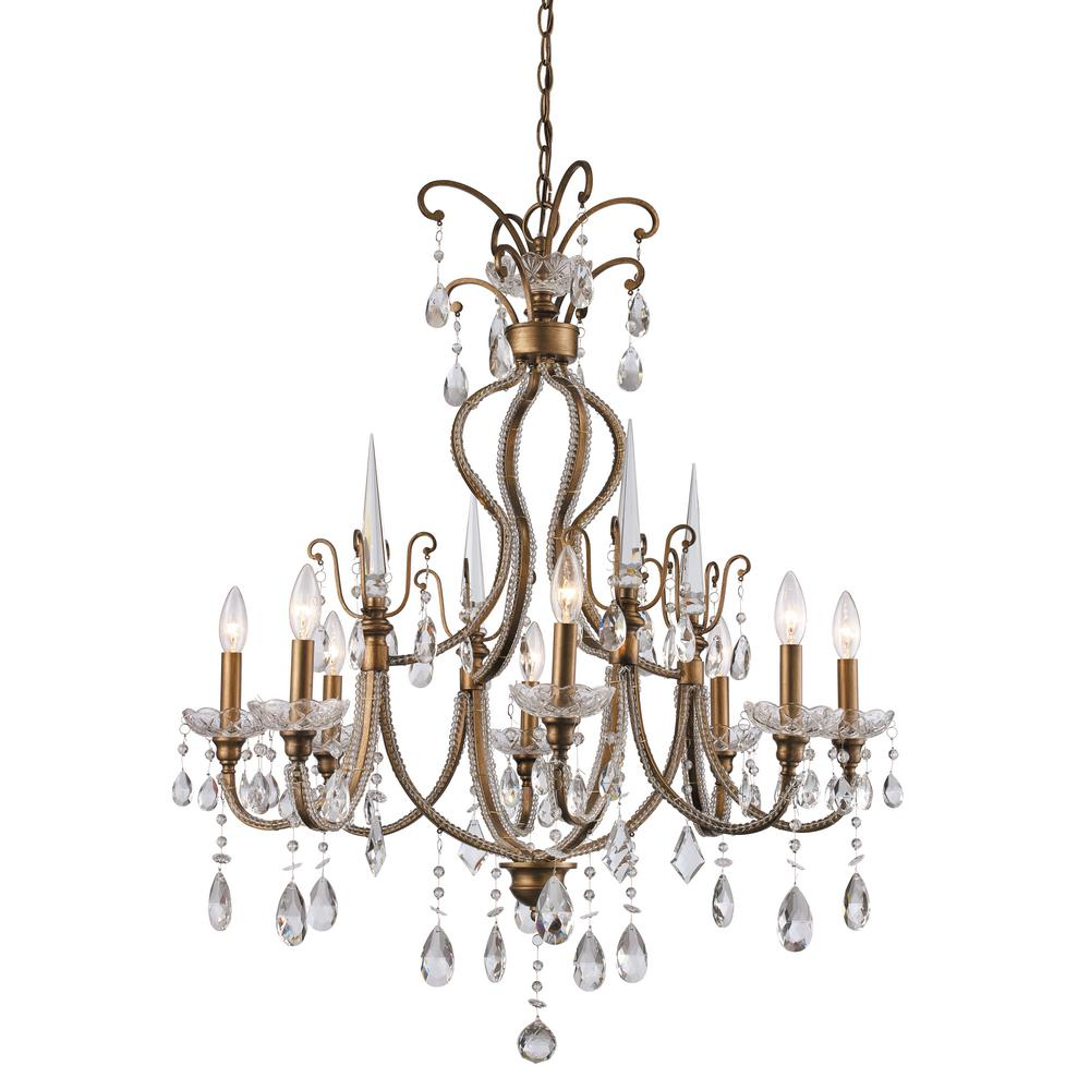 Bel Air Lighting Juglans 8-Light Antique Gold Chandelier - Bel Air Lighting Juglans 8-Light Antique Gold Chandelier-JU-8 AG