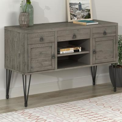 Gray Console Table with Storage Drawers