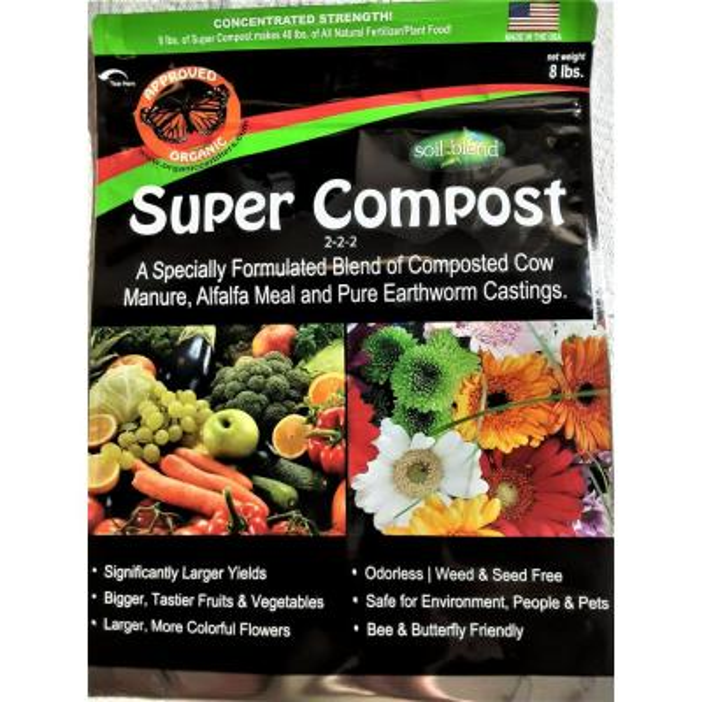Super Compost 8 lbs. Concentrated 8 lbs. Bag makes 40 lbs. Organic Planting Mix, Plant Food and Soil Amendment