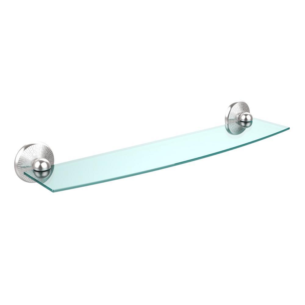 Allied Brass Monte Carlo 24 in. L  x 3 in. H  x 5 in. W Clear Glass Bathroom Shelf in Satin Chrome