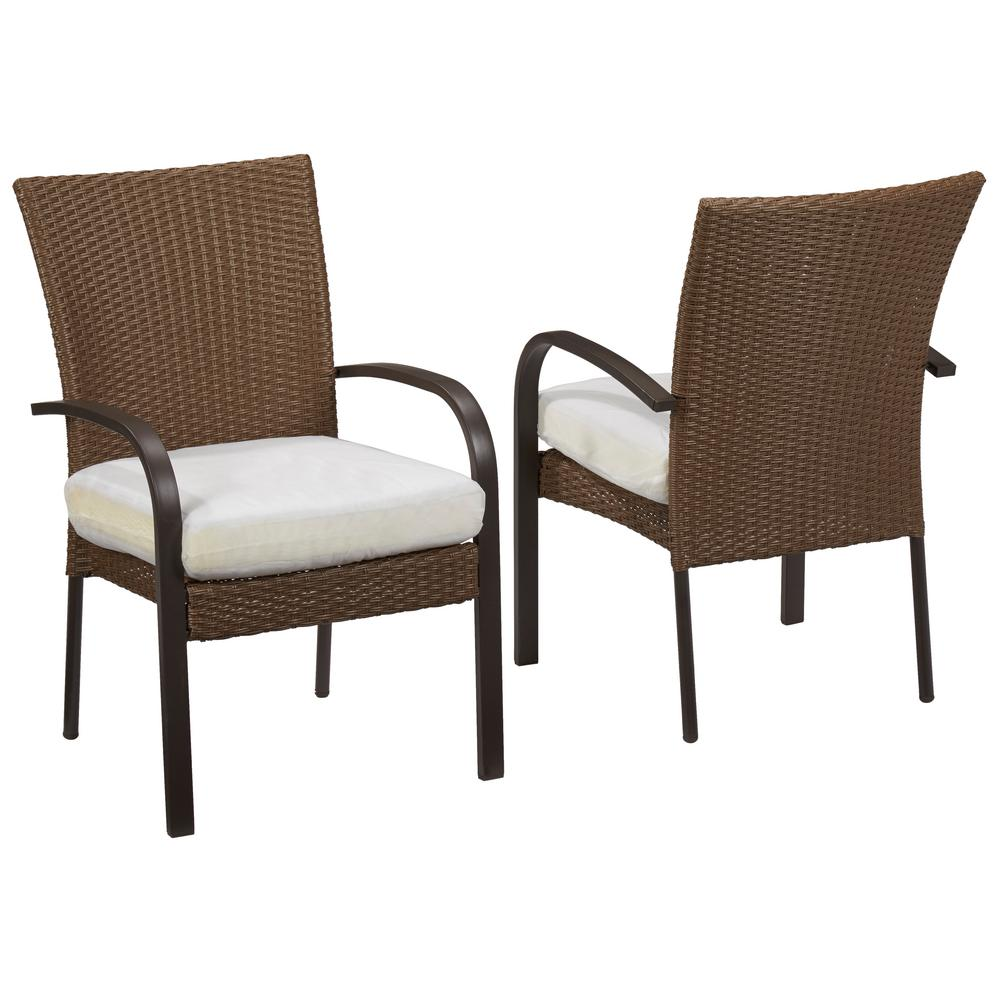 Hampton Bay Corranade Custom Wicker Outdoor Dining Chairs...