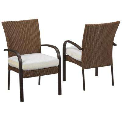 Corranade Custom Wicker Outdoor Dining Chairs (2-Pack) with Cushions Included, Choose Your Own Color