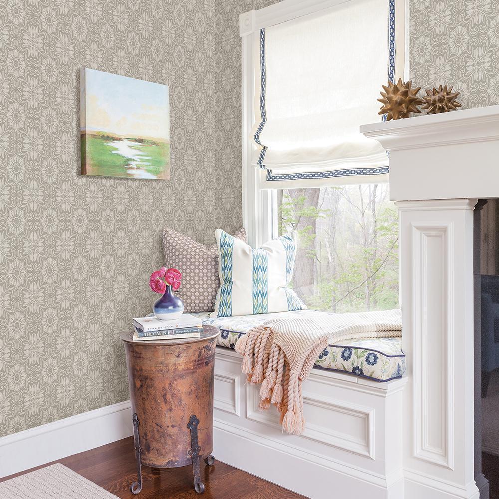 Hessle Grey Floral Wallpaper