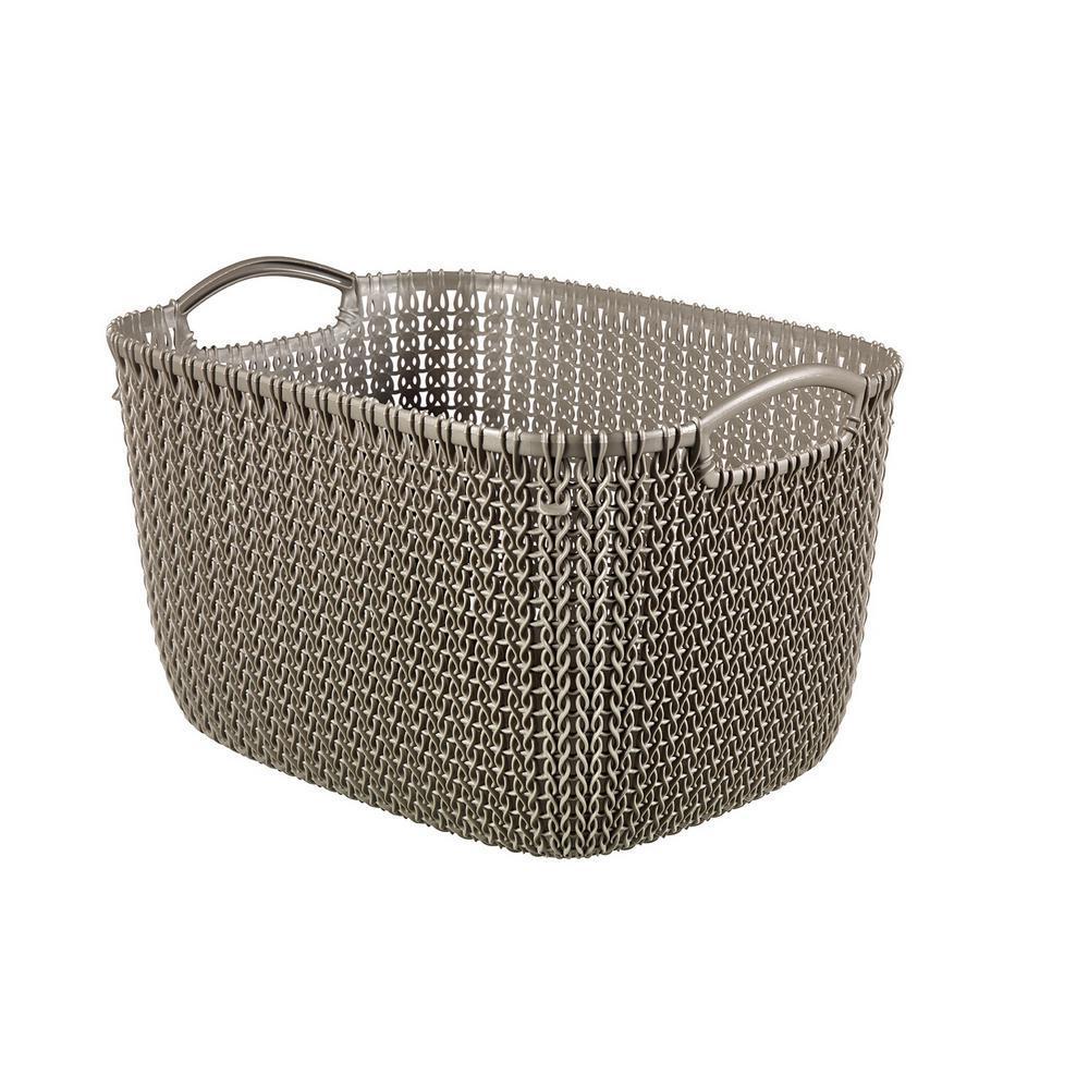 Knit Brown Small Plastic Storage Basket