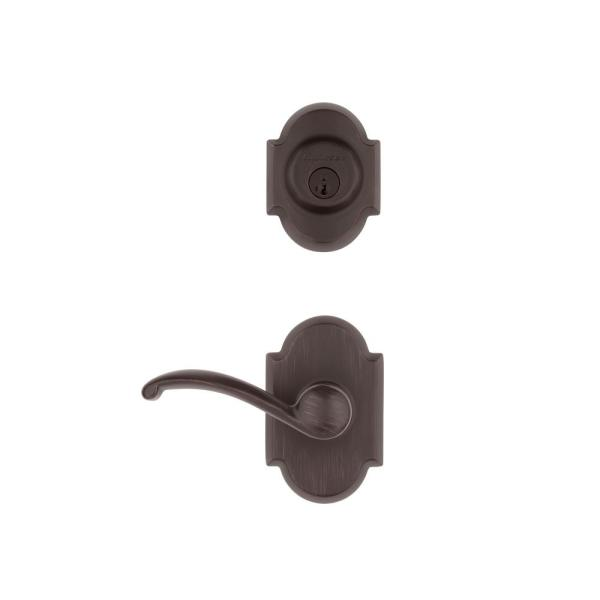 Austin Venetian Bronze Single Cylinder Deadbolt and Passage Lever Combo Pack Featuring SmartKey Security