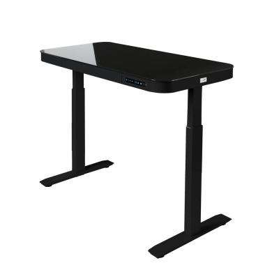 AIRLIFT Black 47 in Tempered Glass Electric Standing Desk /w 2 USB Charging Port and Drawer (Max. Height 29 in to 47 in)