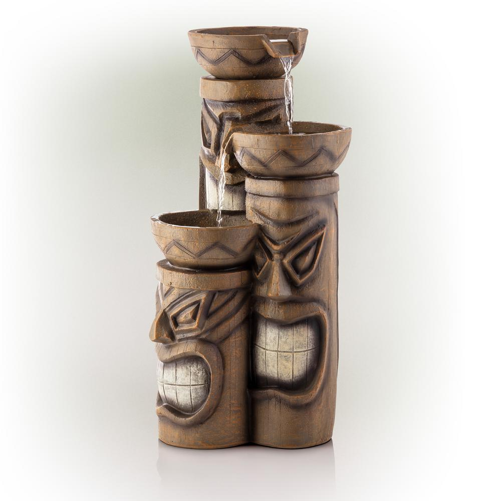 Alpine Corporation 29 in. Tiki Fountain with LED Lights