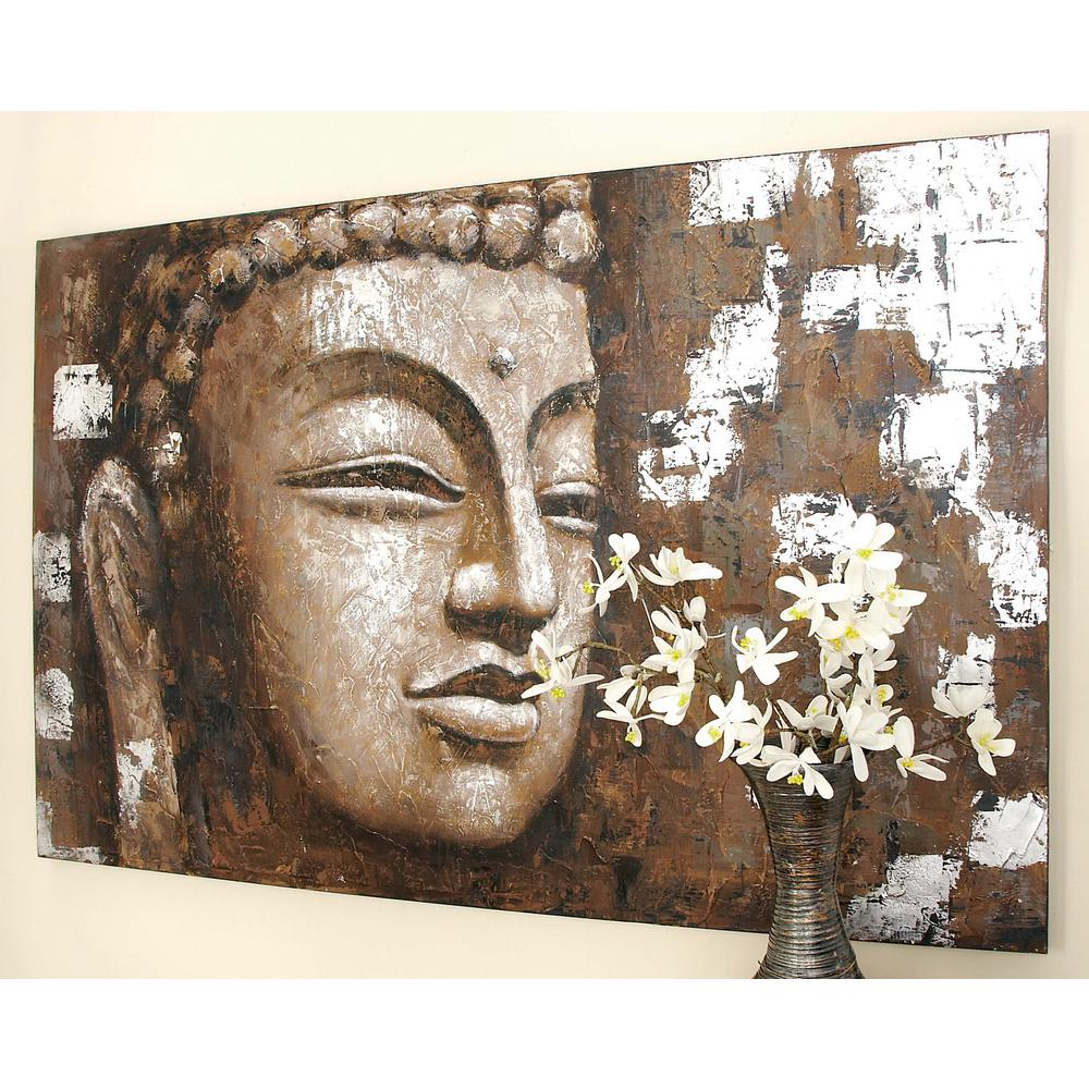 Attractive Wooden Buddha Face Wall Art In Distressed Brown
