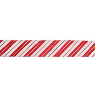 2.5 in. x 16 yds. Iridescent Candy Cane Diagonal Stripe Wired Craft Ribbon