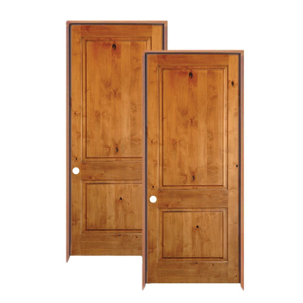 Krosswood Doors 24 In X 80 In Rustic Knotty Alder 2 Panel Square Top Solid Wood Left Hand Single Prehung Interior Door 2 Pack